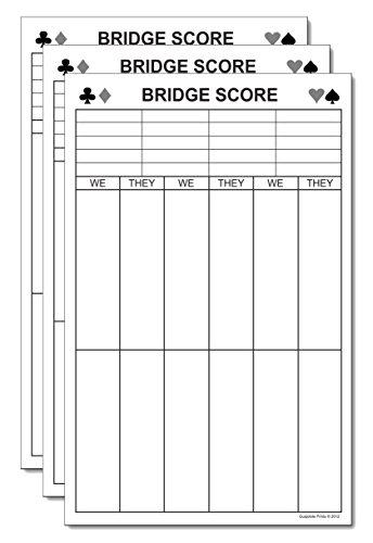 (Bridge Score Pads Large Tallies (3-Pack) Tournament Game Score Sheets Note Pads)