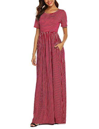 - URRU Women's Striped Scoop Neck Short Sleeve Casual Maxi Dress with Side Pockets Red XL