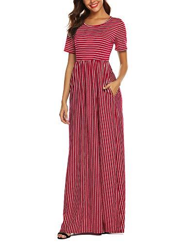 URRU Women's Short Sleeve Loose Plain Maxi Dresses Casual Long Dresses with Pockets Red M
