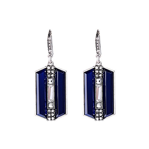 Reproduction Jewelry - Silver Tone Art Deco Antique Vintage Style Blue Sapphire Rhinestone Geometric Dangle Earrings