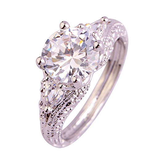 PAKULA Silver Plated Women Round Cut Simulated Cubic Zirconia 3 Stone Ring