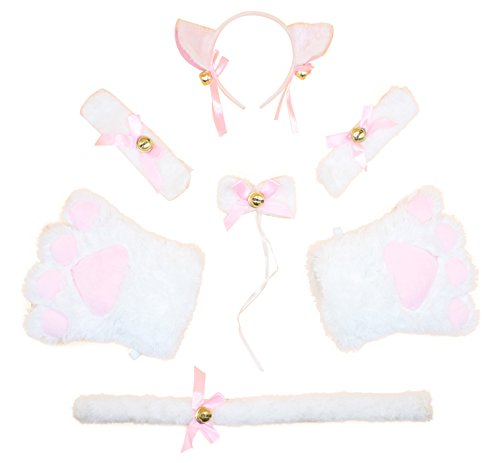 [Litluxe Womens Cat Cosplay Neckwear Ears Tail Collar Paws Bracelet Costume Set with Bell (White)] (White Cat Costume For Women)