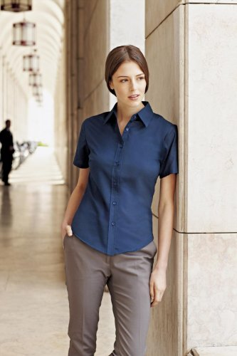 Fruit of the Loom Ladyfit Oxford Kurzarm Shirt] Oxford Blau XL