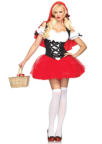 Red Riding Hood Outfit (Leg Avenue Women's Racy red Riding, Tutu Peasant Dress w/Attached Hooded Cape, Black,)