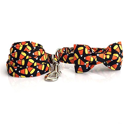 Kuntrona Halloween little pumpkin bowtie dog collar cat collar adjustable buckle pet accseeary collar bow leash M -
