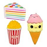 Bestkiy 3pcs Jumbo Squishies Set Popcorn Ice Cream Scented Rainbow Triangle Cake Slow Rising Squeeze Hand Pillow Toy for Collection Gift