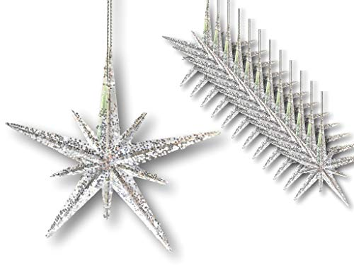 BANBERRY DESIGNS Christmas Moravian Stars - Set of 12 Acrylic Star Ornaments with Glitter - 4 ½""