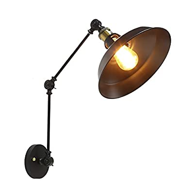 Fuloon Retro Industrial Loft Adjustable Swing Arm Wall Lamp Wall Sconce