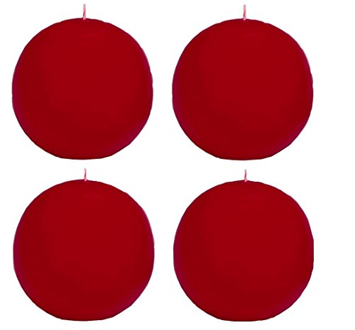Biedermann & Sons Round-Shaped 2-3/8Inch Diameter Ball Candles, Set of 4, - Round Red Candle