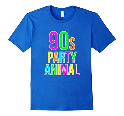 [Men's 90s Party Animal Shirt Retro Throwback 1990s Tee Small Royal Blue] (90s Decade Costumes)