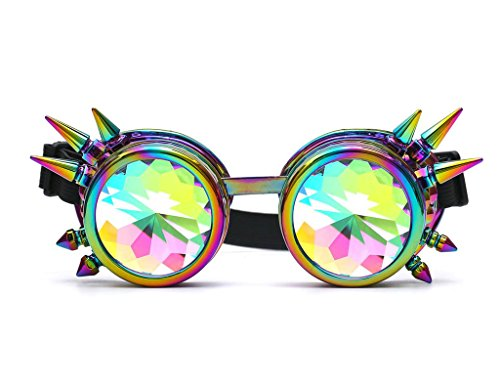 FLORATA Chrome Kaleidoscope Vintage Rave Glasses with Rainbow Crystal Glass Lens for Halloween Cosplay (Sf Raves Halloween)