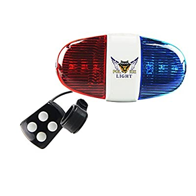 Onedayshop Super Loud Bike Bicycle Police Car 6 LED Light 4 Sounds Trumpet Cycling Horn Bell Siren by Onedayshop