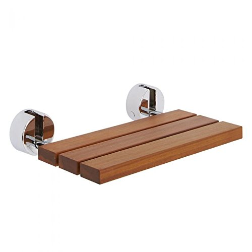 - Hudson Reed Wall Mounted Wooden Folding Shower Seat In A Luxury Teak Finish & Chrome Hinges