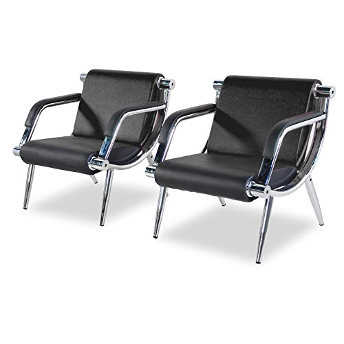 WALCUT Furniture 2PCS Black PU Leather Executive Side Reception Chair Office Waiting Room Bench Guest Sofa Seat