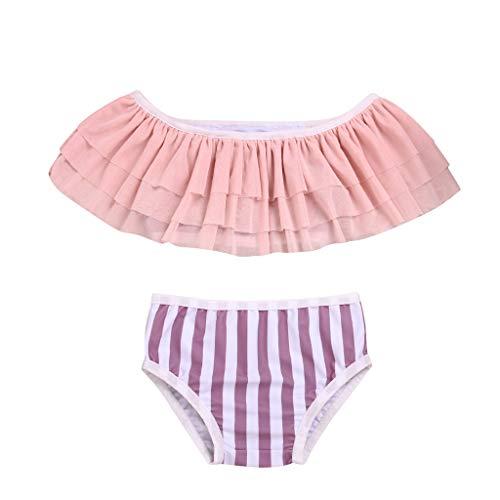 2Pcs Set Toddler Baby Girl Swimsuit,Mitiy Ruffle Swimwear Bikini Tankini Sunsuit with Striped Bottom