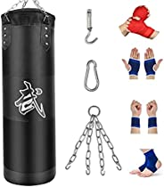 Heavy Bag for Man Women Youth, Boxing Bag Unfilled Punching Bag Set with Chain, Ceiling Hook for MMA, Kickboxi