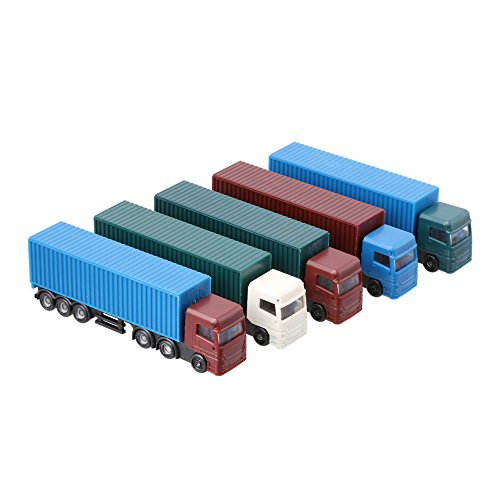 LYWS 5PCS Model Container Truck Freight Car 1:100 HO Scale Model Figure Layout