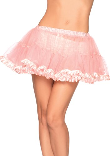 Leg Avenue Bustier - Leg Avenue Women's Petticoat with Pleated Satin Trim Adult Costume, Light Pink, One Sizes Fit Most