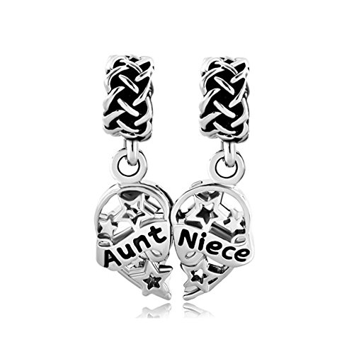 Q&Locket 2 Pieces Aunt Niece Dangle Heart Love Family Charms Fit Charms Bracelet