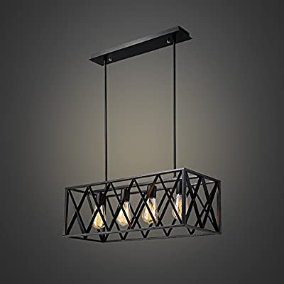 EFINEHOME Efine Vintage Industrial Lighting 4 Lights Edison Retro Rustic Metal Black Rectangle Chandelier for Kitchen Foyer Island Shade Max 240w NO Glass
