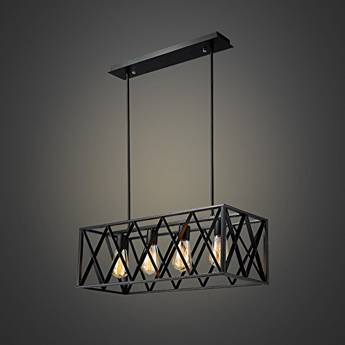 industrial lighting chandelier. Beautiful Industrial EFINEHOME Efine Vintage Industrial Lighting 4 Lights Edison Retro Rustic  Metal Black Rectangle Chandelier For Kitchen Foyer Island Shade Max 240w NO Glass And G