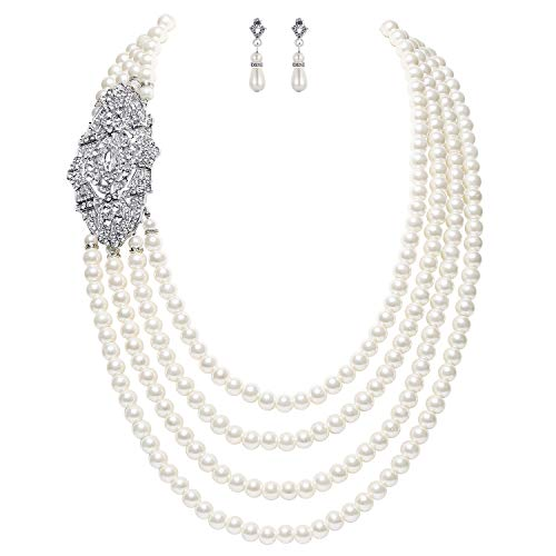 BABEYOND 1920s Gatsby Pearl Necklace Vintage Bridal Pearl Necklace Earrings Jewelry Set Multilayer Imitation Pearl Necklace with Brooch (Style (4 Strand Necklace Earrings)