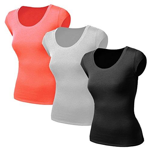 3x Damen Frauen Kurzarm T Shirt - 3er Pack - Basic TShirt - Basis Bluse - Tops - 3 in 1 Schwarz + Weiss + Koralle