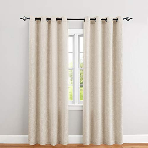 jinchan Burlap Linen Window Curtains for Bedroom Window Panels 1 Pair Rustic Decor Drapes 52