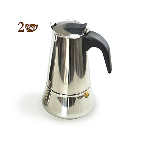 2-Cup Stove Top Espresso Pot Coffee Maker Percolator, Stainless Steel (Italian Coffee Maker 2 Cup compare prices)