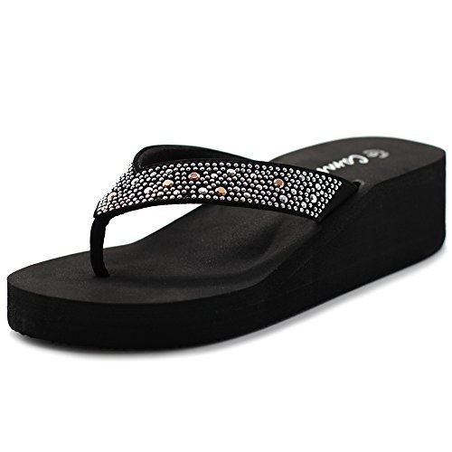 Ollio Cammie Women's Wedges Thong Sandals With Octagon Stud Strap (8 B(M) US, Black) (Low Flip Wedge Flop)