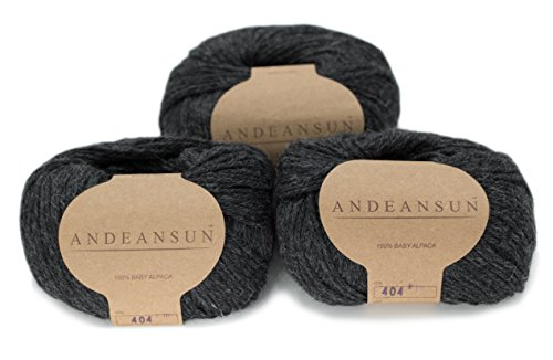 100% Baby Alpaca Yarn Skeins - Set of 3 (Dark Grey) - AndeanSun - Luxuriously soft for knitting, crocheting - Great for baby garments, scarves, hats, and craft projects - ()