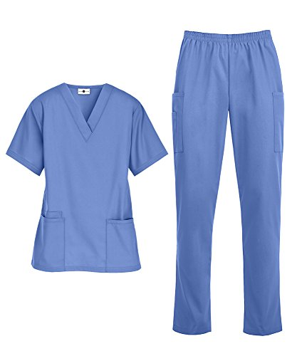 Women's Medical Uniform Scrub Set – Includes V-Neck Top and Elastic Pant (XS-3X, 14 Colors) (Medium, Ceil)