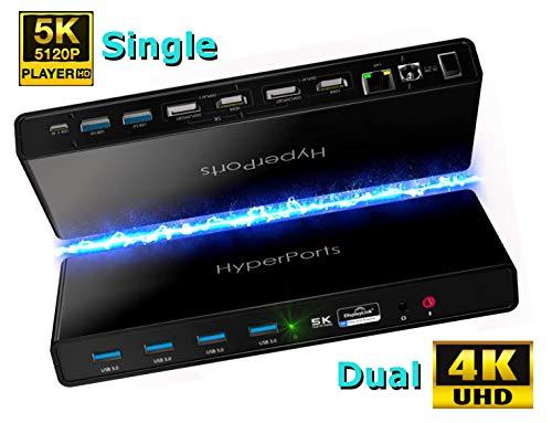 HYPERPORTS USB C Dual 4K Docking Station Thunderbolt 3 Compatible - Single 5K@60Hz/Dual 4K @60HZ 2 HDMI+2 DisplayPort (DL6950 DisplayLink chipset), 6 USB 3.0, Ethernet, Audio Mic for MacOS & Window PC