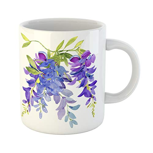 Semtomn Funny Coffee Mug Purple Drawn Watercolor Lilac Blue Flowers Wisteria Floral Abstract Green 11 Oz Ceramic Coffee Mugs Tea Cup Best Gift Or -