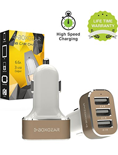 Boxgear 3 USB Port Car Charger, 6.6A} Rapid Charger Tri-Port USB Fast Charger for iPhone, Samsung Galaxy, HTC One, iPad, iPod, And All Other USB Plugs - White/Gold ()