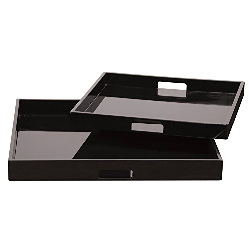 Style Black Lacquer - Howard Elliott 83023 Lacquer Square Wood Tray Set, Black