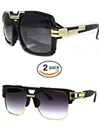 2 pack Extra Large Aviator Shield Sunglasses Mens Fashion Designer Flat Top