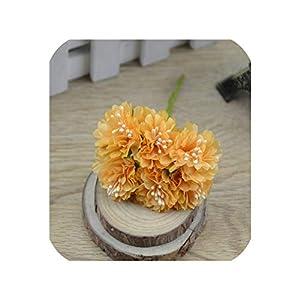 6pcs/lot Rose Artificial Silk Flowers Bouquet Wedding Decoration for Scrap,Orange 32
