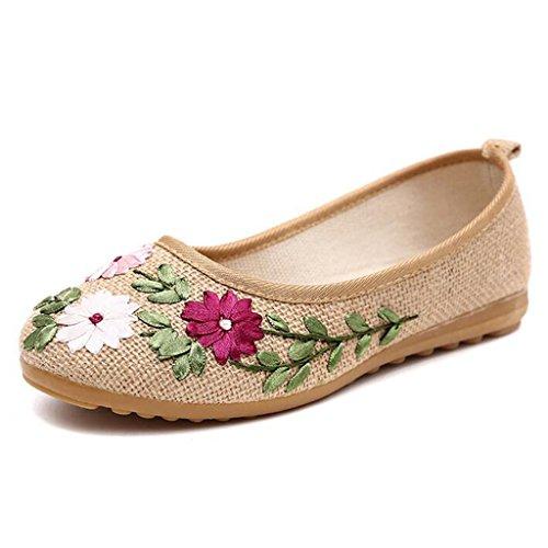 Binying Women's Folk Style Embroidery Flat Pumps Beige TTbQqkzWU0