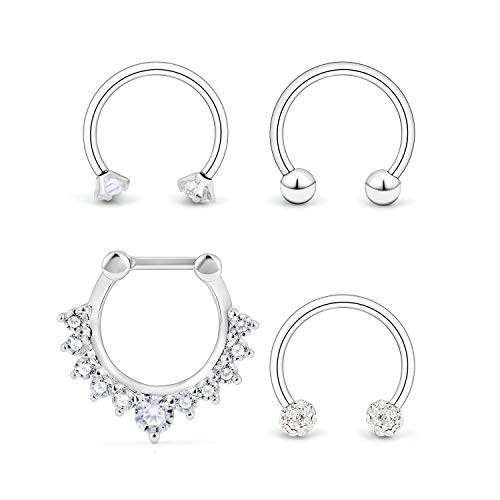 Ocptiy 4PCS 16G Surgical Steel Clear CZ Nose Hoop Septum Ring 10mm Horseshoe Ear Daith Tragus Clicker Rings Retainer Body Piercing Jewelry Silver