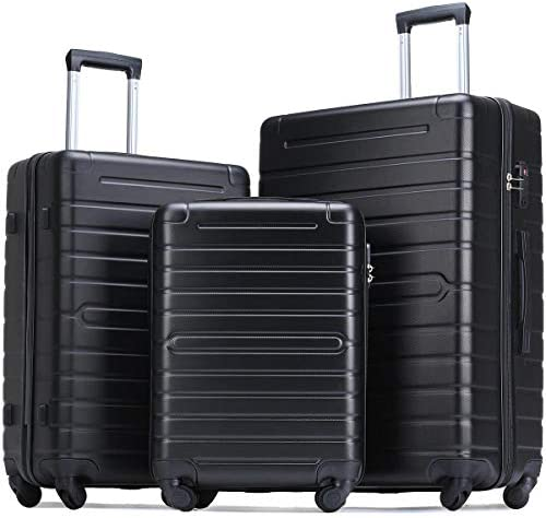 Flieks Luggage Sets TSA 3 Piece Spinner Suitcase Lightweight 20 24 28 inch Elegant Black