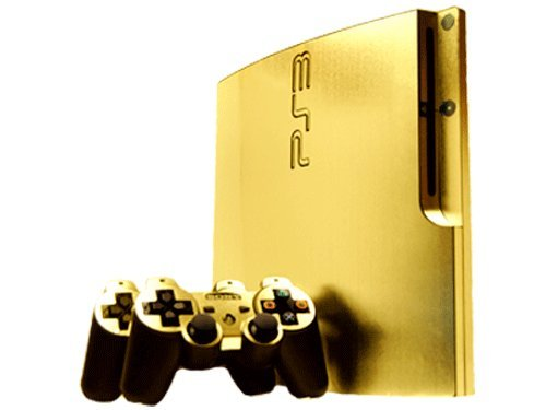 (Sony PlayStation 3 Slim Skin (PS3 Slim) - NEW - BRUSHED GOLD system skins faceplate decal mod)