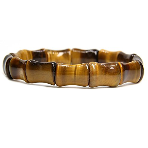 - Amandastone Natural Golden Tiger Eye Handmade Semi-Precious Stone Bamboo Elastic Force Bracelet 7