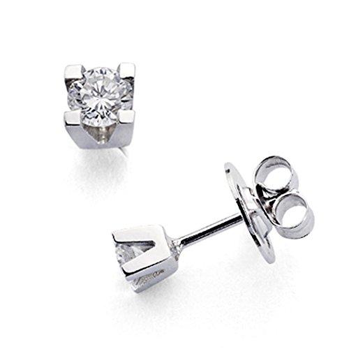 Boucled'oreille 18k or blanc 2 diamants brillants 0,3ct [7328]