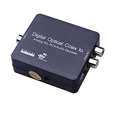 iParaAiluRy Digital to Analog Audio Decoder Converter Adapter- Convert Digital Coaxial/Optical Toslink SPDIF to Stereo 3.5mm Jack or L/R(Red/White) RCA Audio Outputs with PCM, 5.1 Dolby Digital & DTS