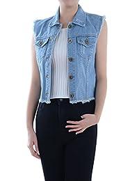 Anna-Kaci Womens Distressed Denim Button Up Sleeveless Crop Vest