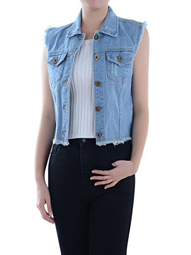 Anna-Kaci Womens Distressed Denim Button Up Sleeveless Crop Vest, Blue, Large (90s Denim Jacket)