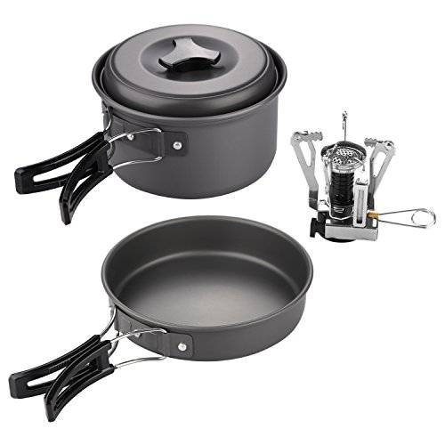 KevenAnna 10 Pcs Lightweight Camping Cookware Set Outdoor Backpacking Cookware Kit Camping Cooking Gear with Camping Stove
