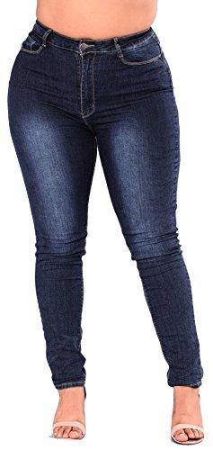 (Women's High Waist Butt Lift Stretch Pull-On Skinny Jean Slim Denim Jegging Blue)