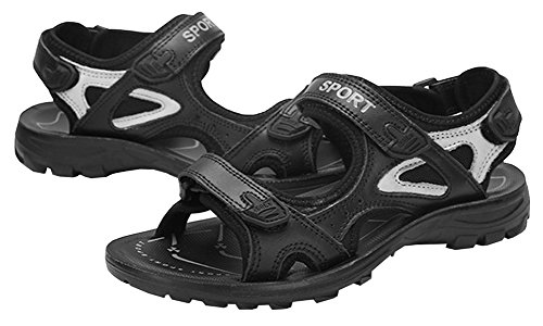 Athletic Genuine Black Kunsto Sandal Outdoor Leather Sport Women's 1CHPqPwF